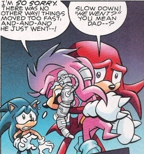 Julie-Su hugging Knuckles