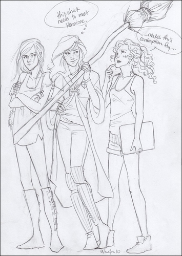 Katniss (Hunger Games), Ginny (Harry Potter) , and Annabeth