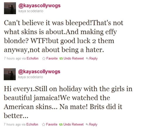 Kaya on Skins USA.