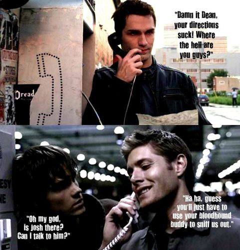 Winchester Girls wallpaper probably with a business suit, a telephone booth, and a sign called SUPERNATURAL/BEING HUMAN crossover!!