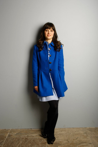 Zooey Deschanel wallpaper with a trench coat called Zooey - Gibson Guitar Lounge
