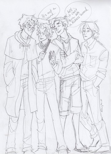 percy jackson, harry potter, and hunger games - the-heroes-of-olympus Fan Art