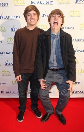 Dylan Sprouse and Cole Sprouse at the Celebrity Talent Academy Workshop in London