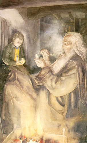 Gandalf and Frodo at Bag End.