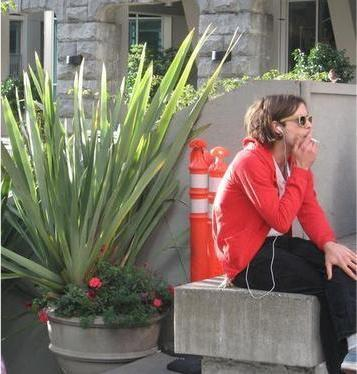 Matthew Gray Gubler smoking a cigarette (or weed)