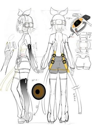 Vocaloid Wallpaper Entitled Rin Append Sketch