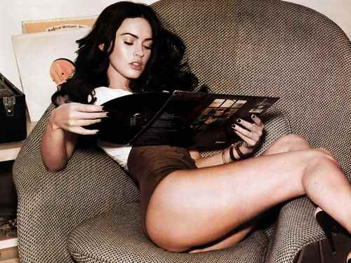 Megan fox, mbweha karatasi la kupamba ukuta possibly with bare legs, hosiery, and a hip boot called Sexy MegaN