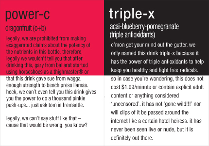 Vitamin Water labels. xD