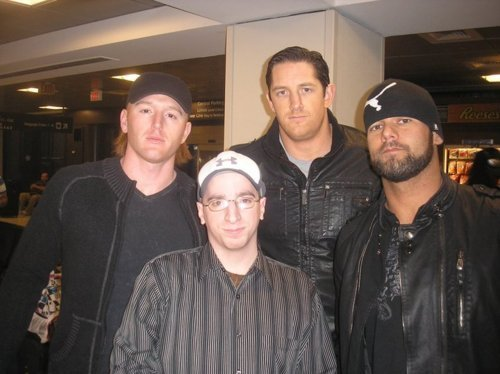 Wade Barrett Обои entitled Wade Barrett,Heath Slater,Justin Gabriel w/Fan