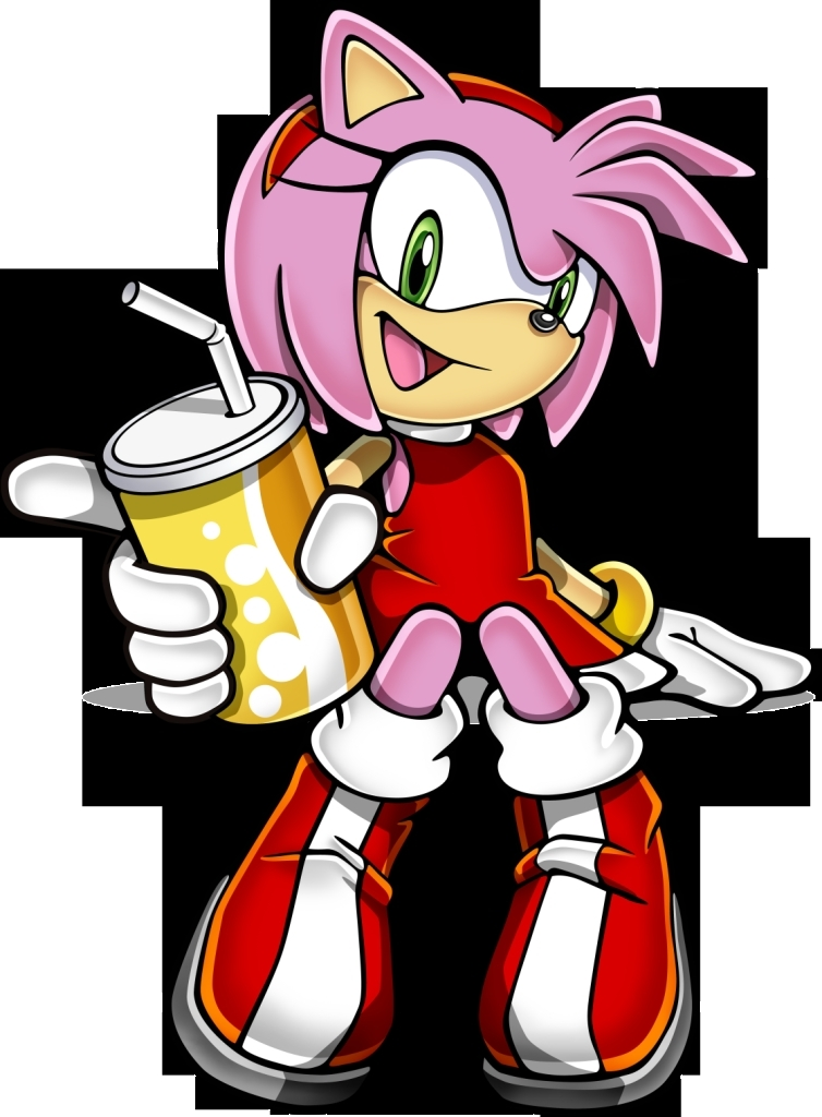 amy rose with a soda