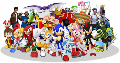 Nhím Sonic hình nền probably containing a hard kẹo titled sonic and sega all stars racing all characters