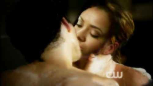 Damon & Bonnie wallpaper containing a portrait called *bamon's bathtub scene* (kiss manip)