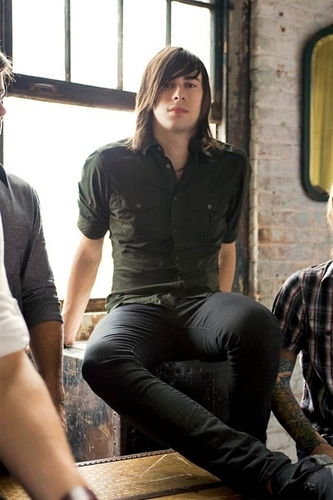 Mayday Parade wallpaper probably containing a street, a business suit, and a green baret called Alex Garcia