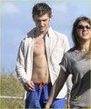 Alex Pettyfer Bulges at the Beach - alex-pettyfer photo