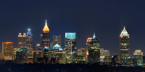 Atlanta fondo de pantalla with a business district entitled Atlanta, GA Skyline