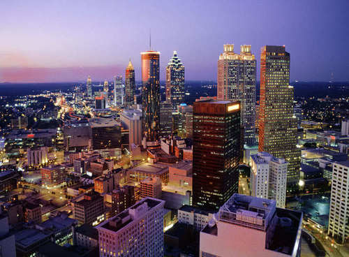 Atlanta fondo de pantalla containing a business district, a skyscraper, and a refinería, refinería de titled Atlanta, GA Skyline