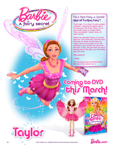 búp bê barbie A Fairy secret- Taylor poster for everyone, who wants to read