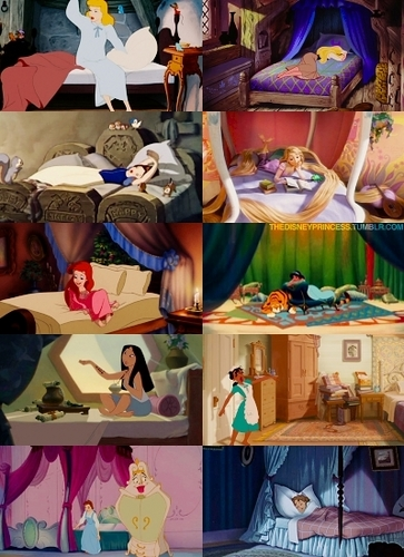 Disney Princess' (and Wendy) in bed