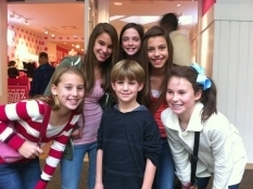Matty with some girls at mall