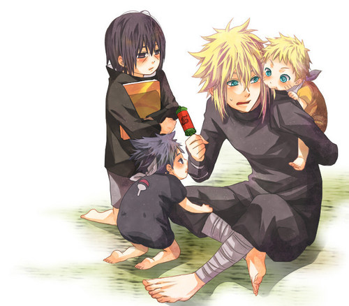 Naruto Shippuuden wallpaper probably containing an ice lolly called Minato, Itachi, Sasuke and Naruto