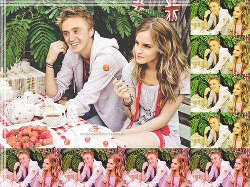 Tom Felton & Emma Watson wallpaper possibly containing an abattoir and a bouquet entitled Tom&Emma <3