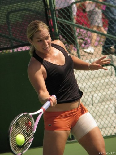 tennis wallpaper with a tennis racket, a chainlink fence, and a tennis pro titled hot dominika