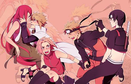 Naruto Shippuuden wallpaper with anime entitled  Kushina, Minato, Sakura, Naruto and Sai