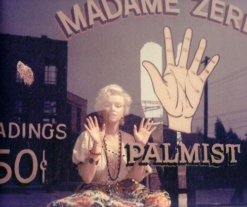 Marilyn Monroe wallpaper containing a sign titled ~PALMIST~