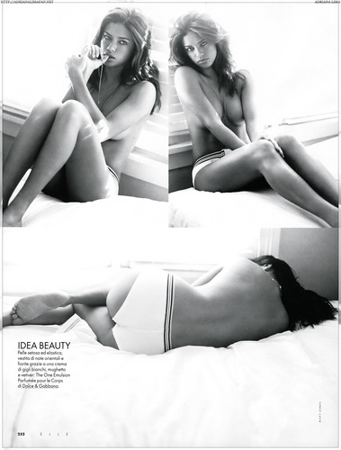 Adriana Lima wallpaper containing skin and a bikini titled Adriana [Elle Italy 2008]