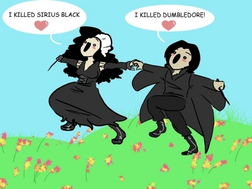Harry Potter Vs. Twilight wolpeyper containing anime entitled Bellatrix and Snape