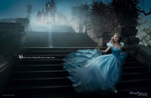 Disney Princess wallpaper with a fountain titled Cinderella – Scarlett Johanson