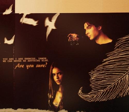 Damon&Elena and Ian&Nina wallpaper possibly with a sign entitled Damon & Elena