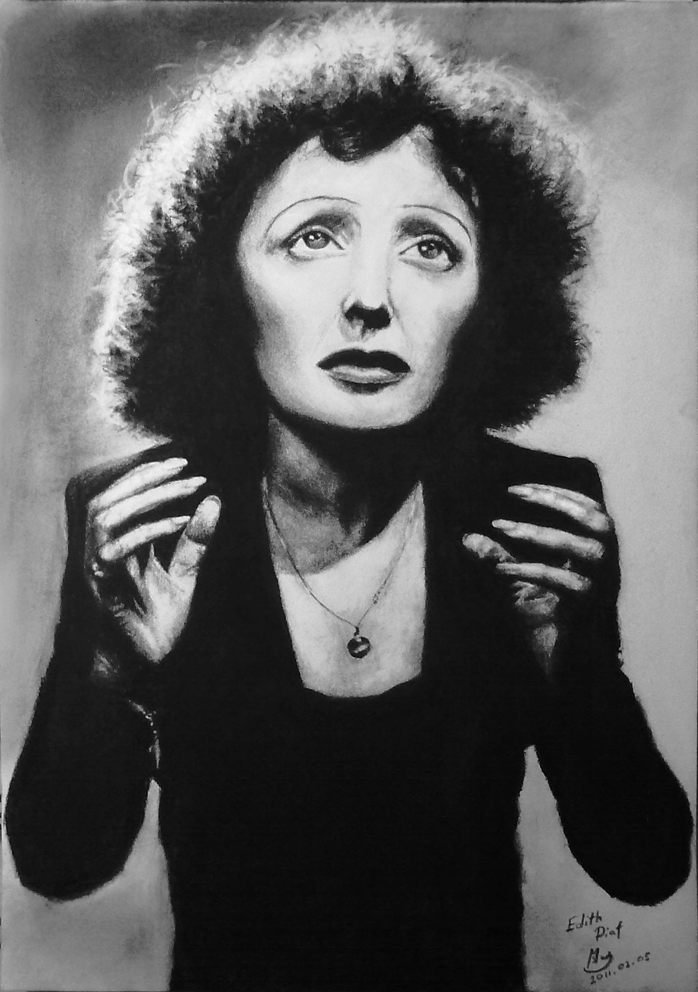 EDITH PIAF charcoal drawing - EDITH PIAF Fan Art (19133703) - Fanpop
