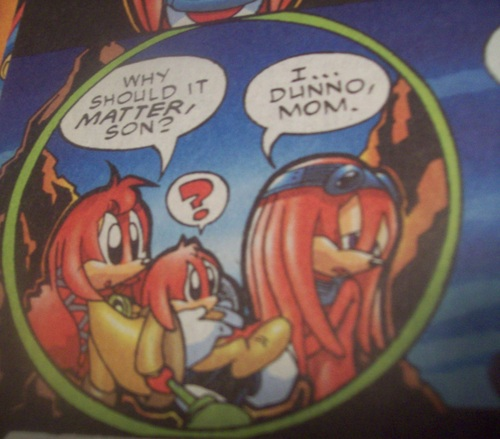 Knuckles handing Kneecaps back to their mom