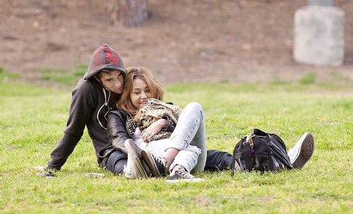 Miley Cyrus and Josh Bowman at Griffith Park in Los Angeles, February 6, 2011
