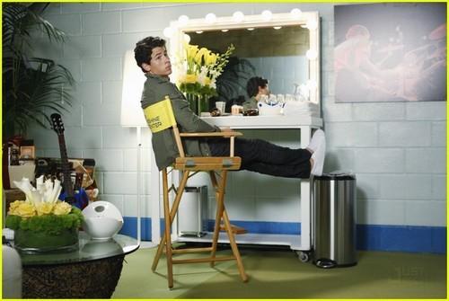 Nick Jonas hình nền probably with a dressing table, a lectern, and a drafting bàn entitled Nick Jonas: 'Mr. Sunshine'