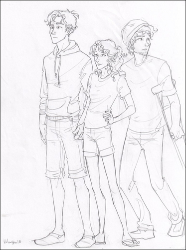 The Heroes of Olympus achtergrond with anime titled Percy, Annabeth, and Grover