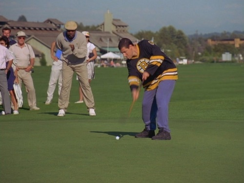 Adam Sandler پیپر وال containing a wicket, a fielder, and an umpire titled Sandler in Happy Gilmore