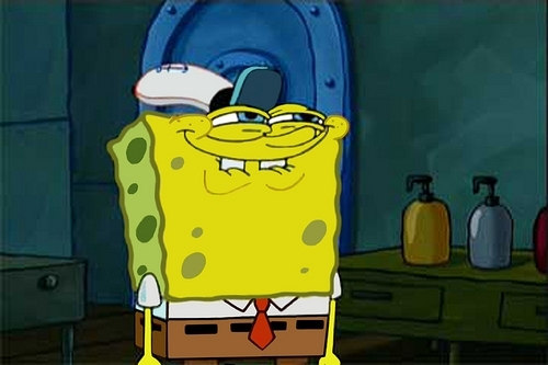 Spongebobs face when he finds that squidward likes krabby patties