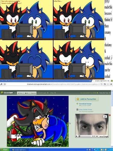 Shadow The Hedgehog wallpaper possibly containing anime called shadow+sonic=love?