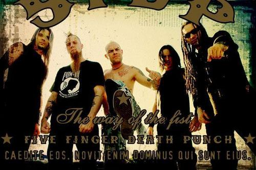 Five Finger Death punch, punzone wallpaper possibly with a sign entitled 5FDP