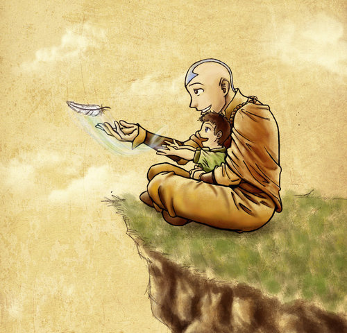 Aang with his son Tenzin
