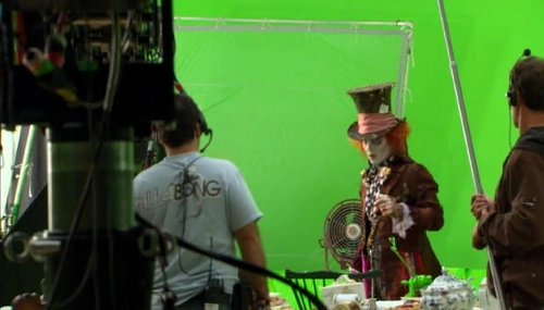 Alice in Wonderland (2010) wallpaper possibly with a concert and a drummer called Alice in Wonderland-Behind the scenes