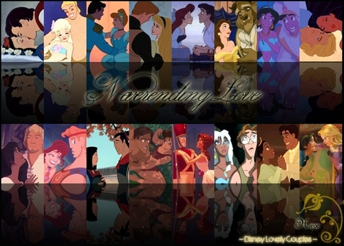 disney couples in amor collage