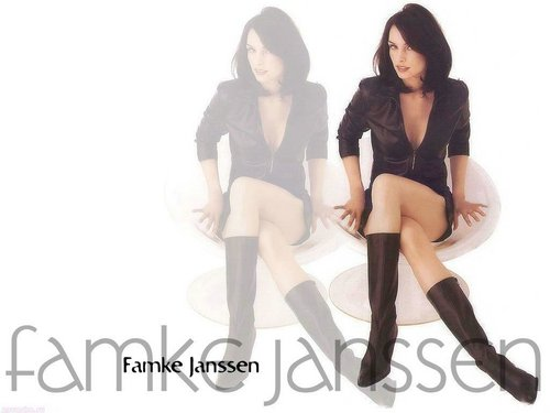 Famke Janssen 바탕화면 possibly containing hosiery, bare legs, and tights entitled Famke