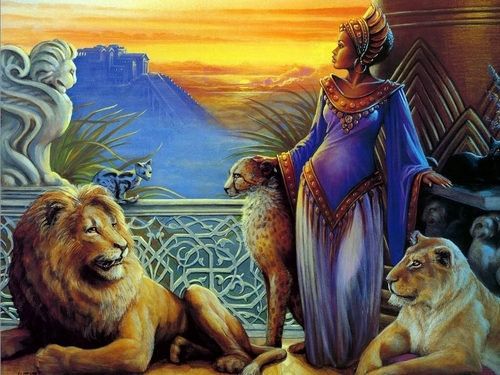 Girl and Lions - fantasy Wallpaper