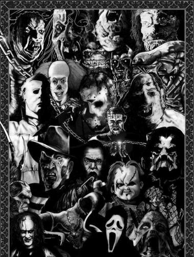 Horrorfilme Hintergrund titled Horror films collage
