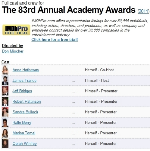 """IMDb has Rob listed as a """"presenter"""" for this year's Oscars"""