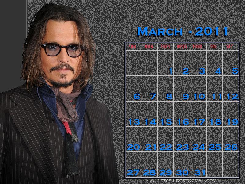 Johnny - March 2011 (calendar) - Johnny Depp 800x600