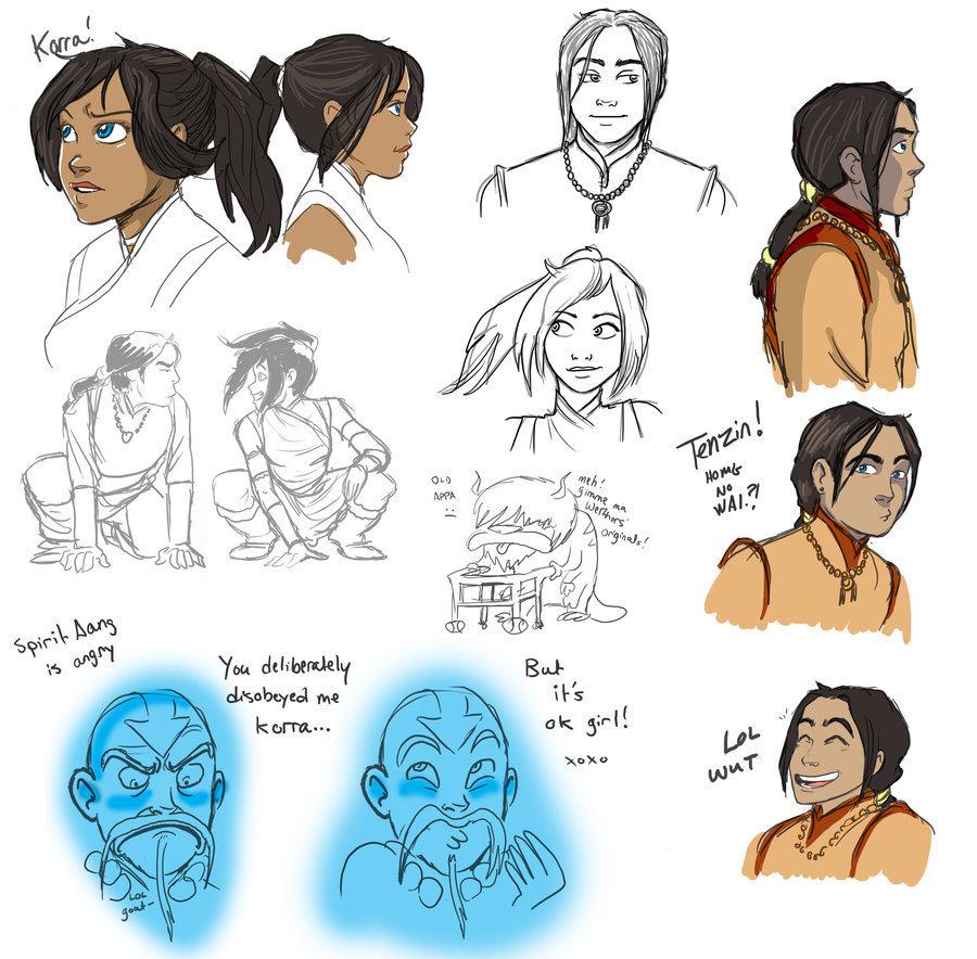 Avatar the legend of korra korra tenzin sketches